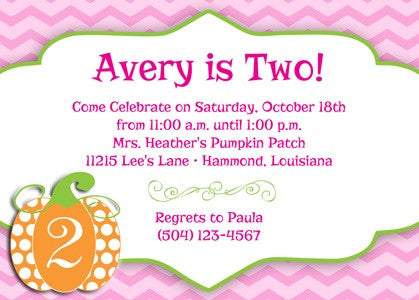 pink chevron, orange polka dot pumpkin invitation/announcement