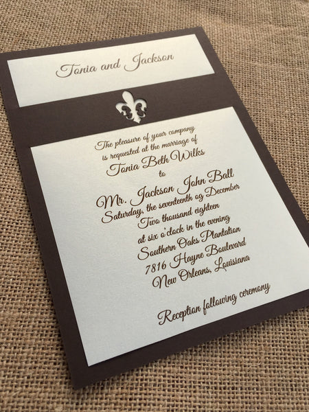 fleur de lis band layered invitation