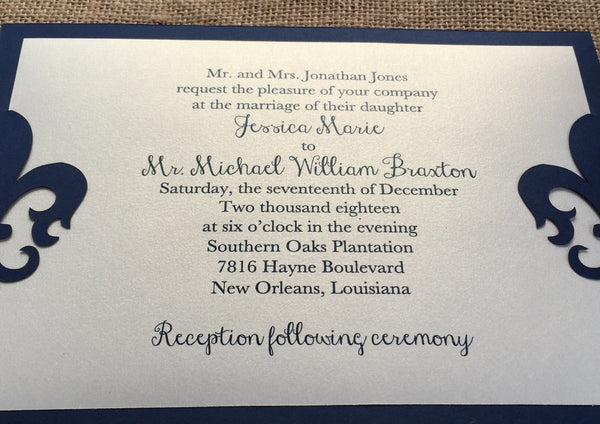 Die Cut Layered Fleur de Lis Wedding Invitation