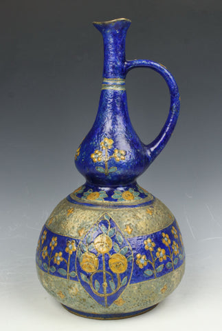 19C Amphora Turn Teplitz Enameled Ewer Pitcher #3968