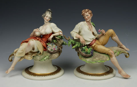 "Capodimonte Giuseppe Cappe 2 figurines ""Peasant Man and Woman"""