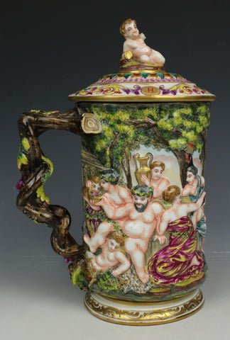 Antique Capodimonte Beer Stein with Bacchanalian Scene