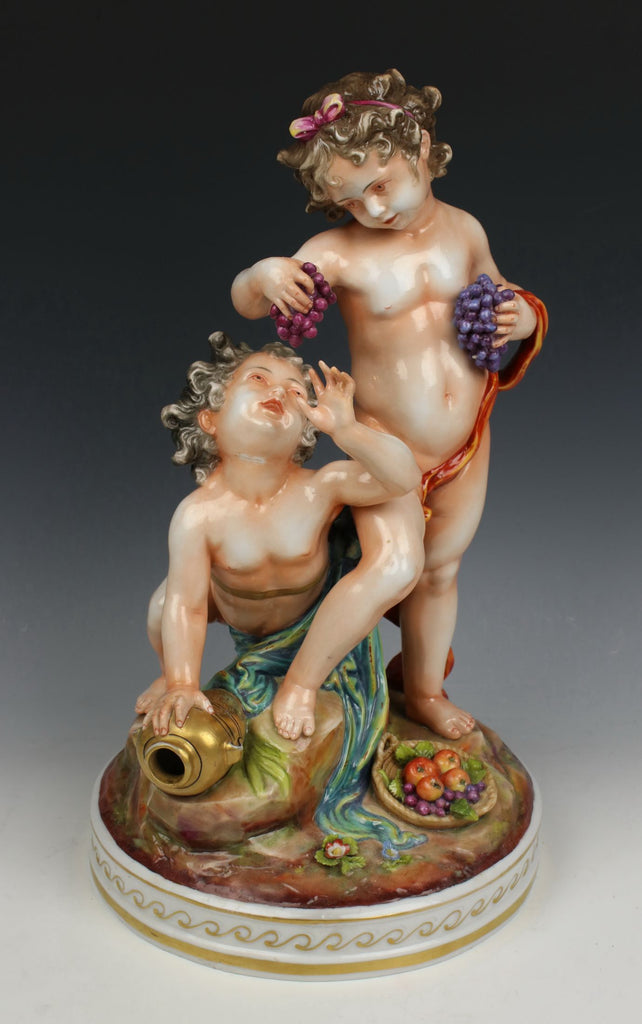"Antique Capodimonte Figurine ""Two Cherubs with Grapes"""