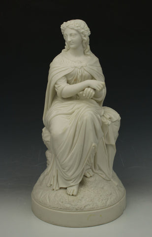 "Antique English parian figurine ""Sitting Woman"""