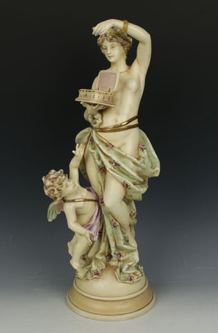 "Antique Ernst Wahliss Figurine 4037 ""Woman with Cherub and Box"""