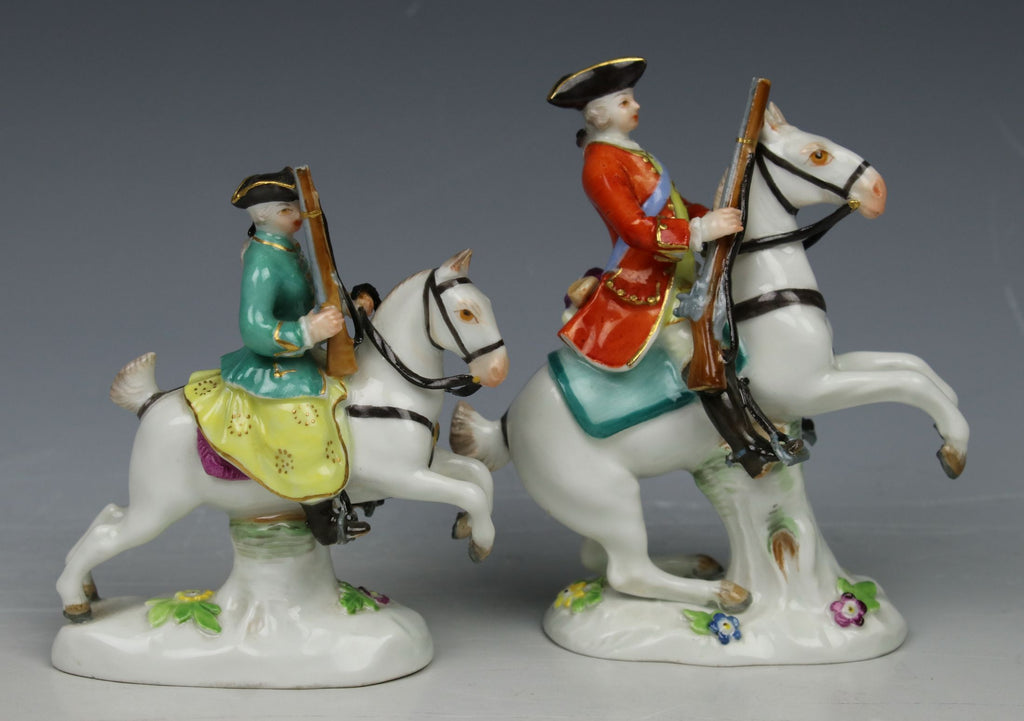 "Meissen Kaendler Figurines A50 ""Hunter and Huntress on Horses"""