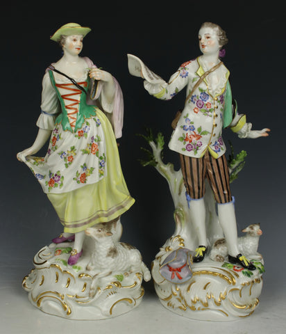 "Meissen Kaendler figurines ""Man with Music Sheet & Woman with Sheep"""