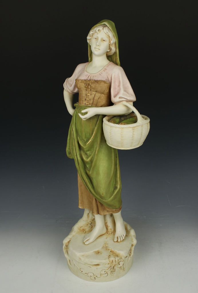 "Royal Dux figurine ""Woman with Basket of Fish"""