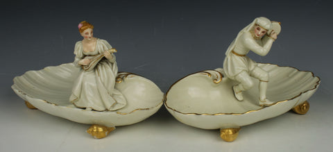 "19C Royal Worcester figurines ""Man & Woman Playing Music"""
