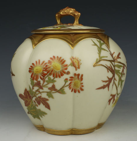 19C Royal Worcester 1412 Melon Cracker Jar