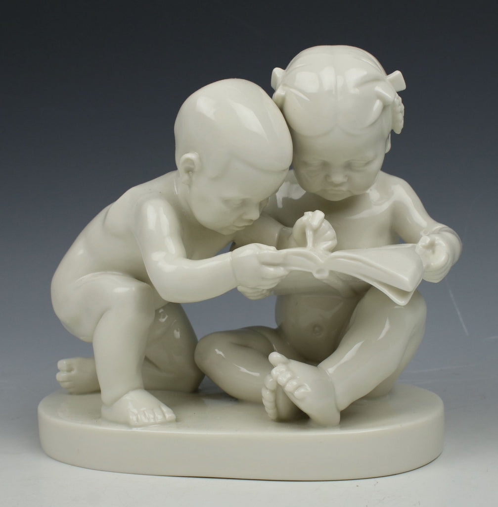 "Schwarzburger Figurine ""Boy and Girl Reading"""
