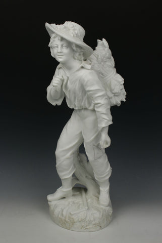 "19C Vion & Baury parian figurine ""Boy with Wheat"""
