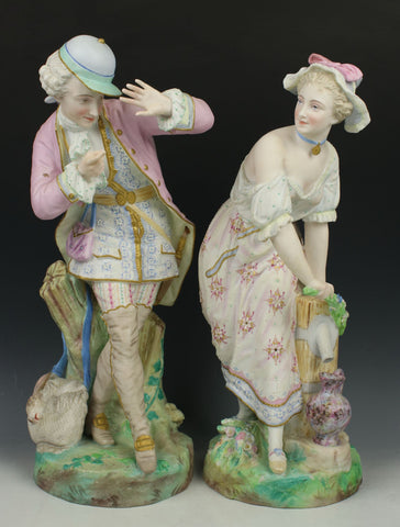 "19C Vion Baury figurines ""Noble Hunter & Peasant Girl"""