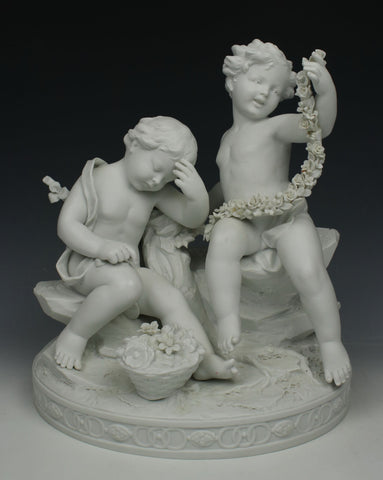 "Dresden Volkstedt figurine ""Cherubs with Garland"""