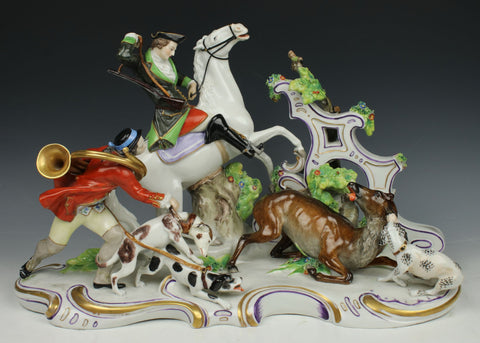 "Antique Dresden Volkstedt figurine ""Hunters with Deer"""