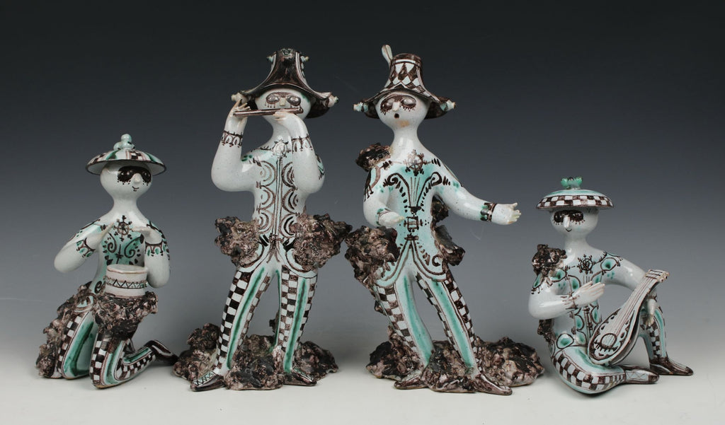 "Rare Bjorn Wiinblad 4 figurines set ""Troubadours"""