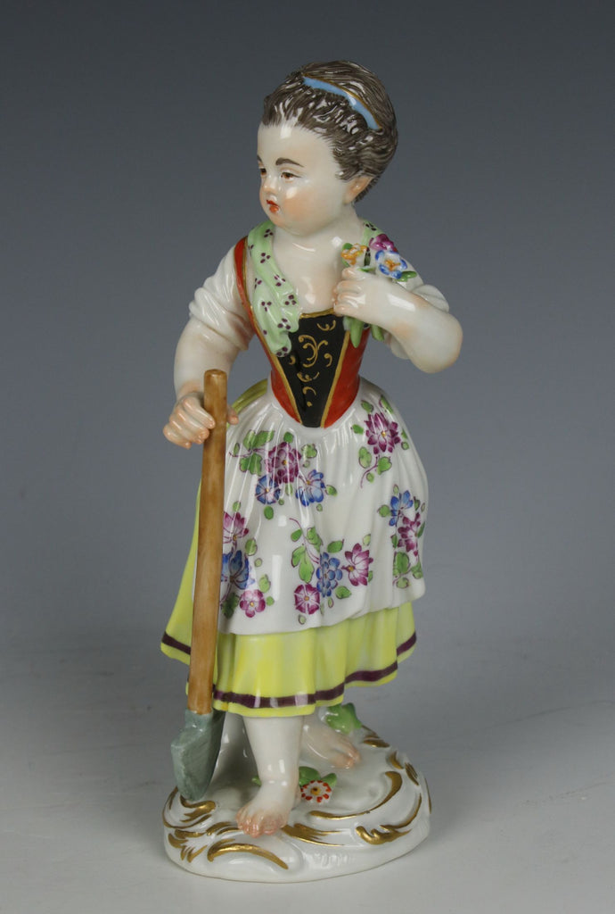 "Meissen Kaendler Figurine ""Girl with Shovel"""