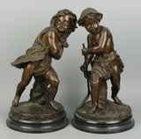 Pair of 19C french allegorical bronse figures Summer & Winter - LUX-FAIR.com - 1