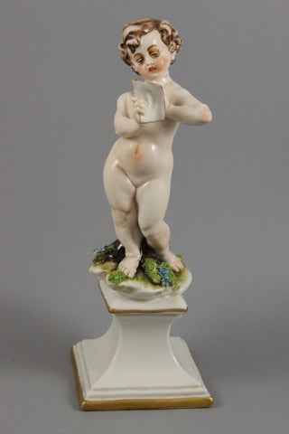 Capodimonte IPA Figurine Boy with Letter - LUX-FAIR.com - 1