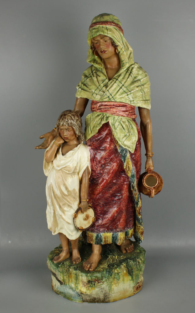 "Huge 27"" antique Austrian figurine ""Eastern Woman with Boy"" - LUX-FAIR.com - 1"