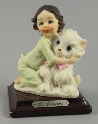 Giuseppe Armani Figurine Girl Hugging Toy Cat - LUX-FAIR.com - 1