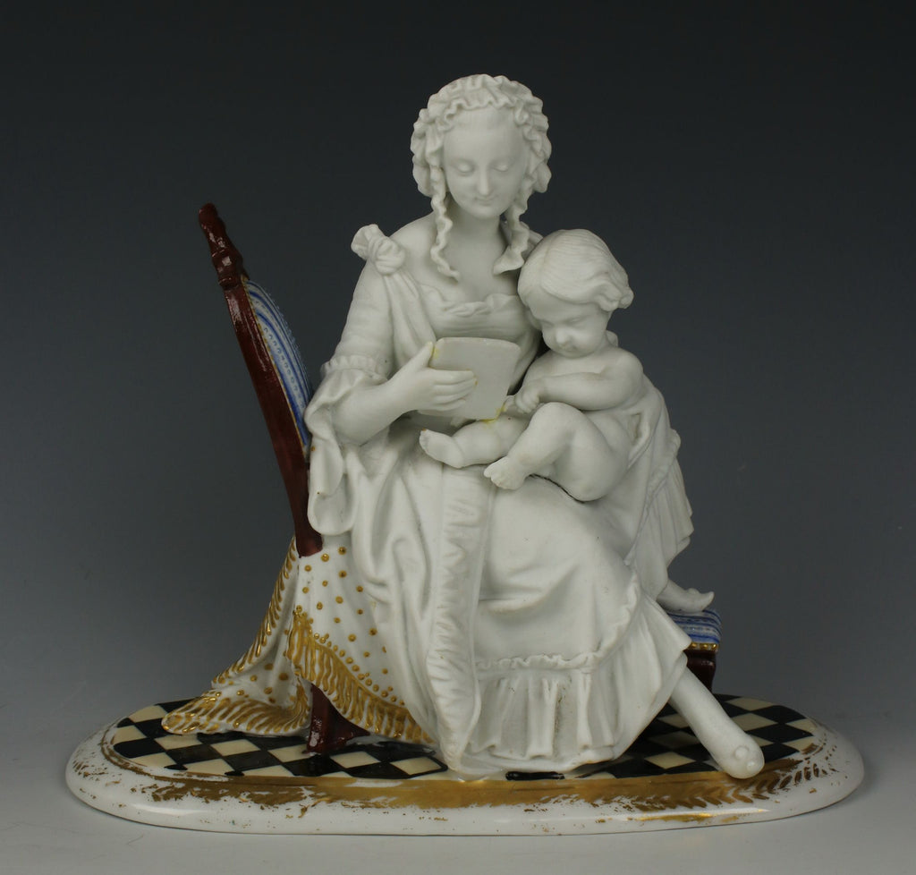 "Antique French parian figurine ""Mother and Child Reading"""