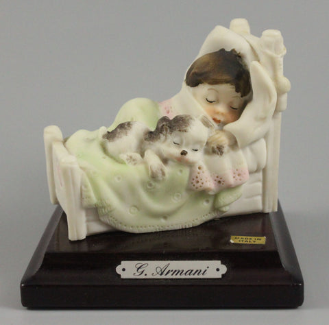 Giuseppe Armani Figurine Boy Sleeping with Puppy - LUX-FAIR.com - 1