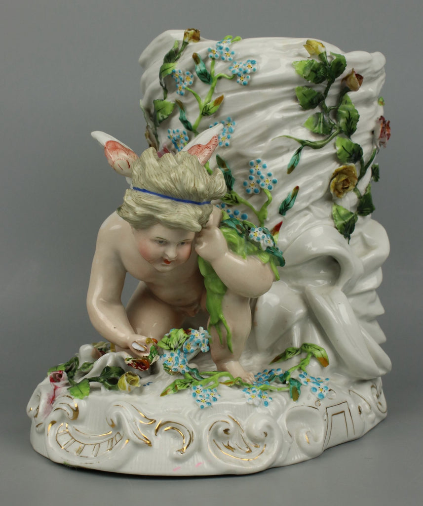 Antique 19C Sitzendorf figurine Vase with Cherub - LUX-FAIR.com - 1