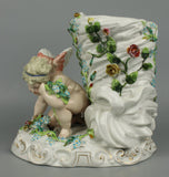 Antique 19C Sitzendorf figurine Vase with Cherub - LUX-FAIR.com - 8