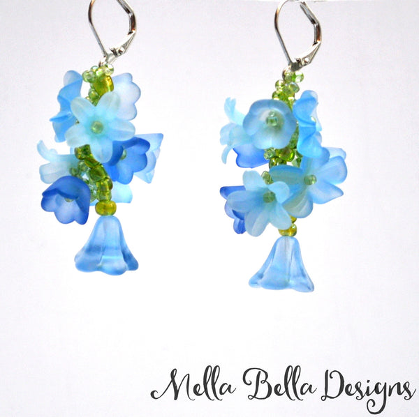 Blue Flower Vine Earrings