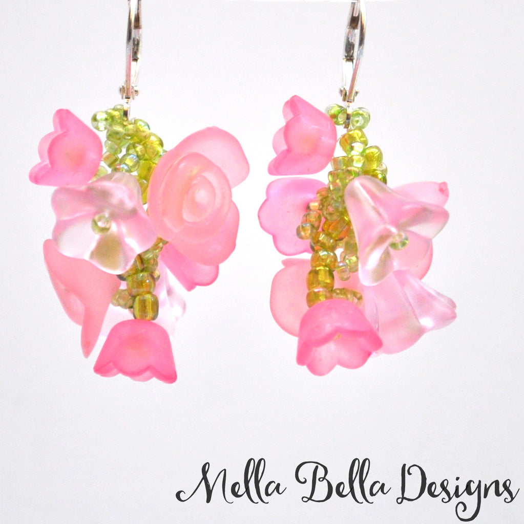 Pink Flower Vine Earrings