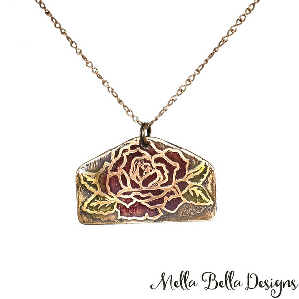 Etched Copper Rose Pendant (large)