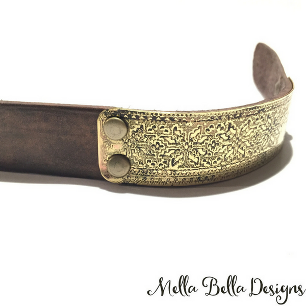 Etched Brass & Leather Bracelet