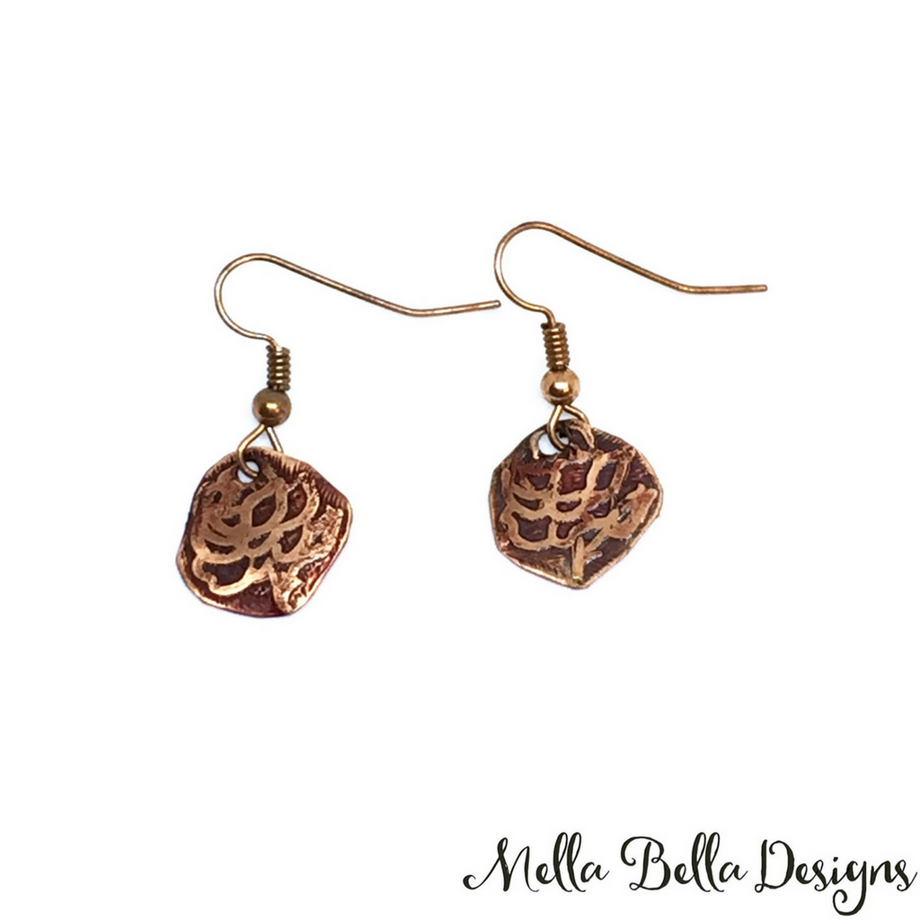 Etched copper rose earrings