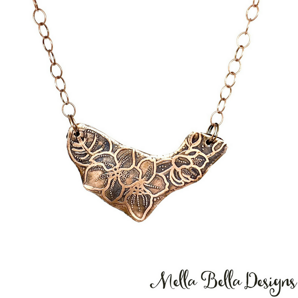 Etched Copper Flower Bouquet Pendant