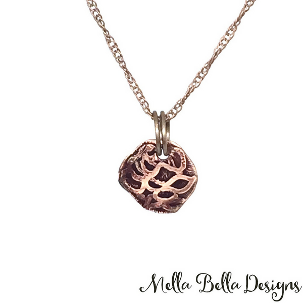 Etched Copper Rose Pendant (small)