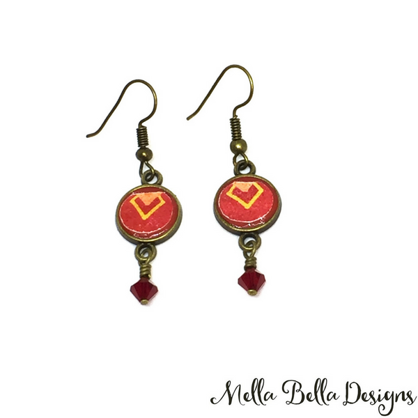 Red & yellow Pysanka earrings