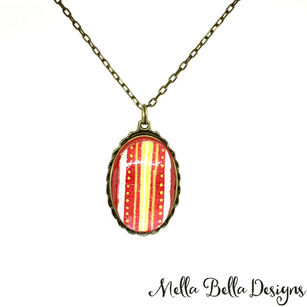 Red striped Pysanka pendant
