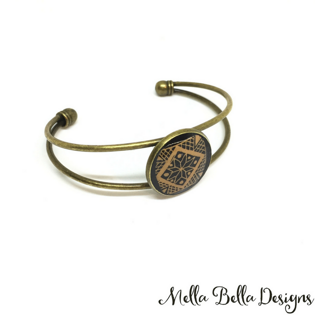 Black & brown geometric Pysanka bracelet
