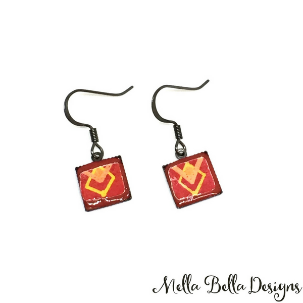 Square red & yellow Pysanka earrings