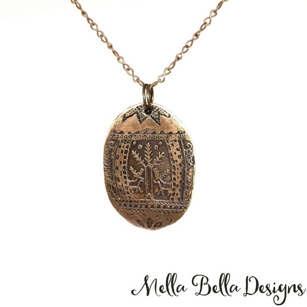 Etched Copper Pysanka Pendant