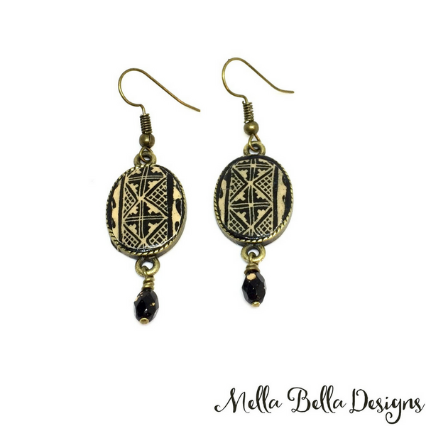 Oval brown & black Pysanka earrings