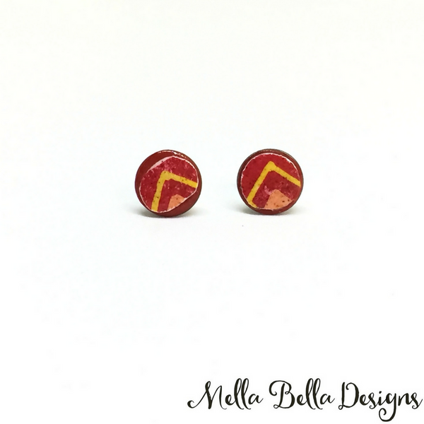 Red & yellow chevron Pysanka earrings