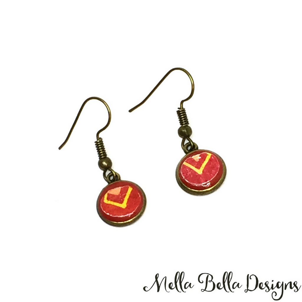 Round red & yellow Pysanka earrings
