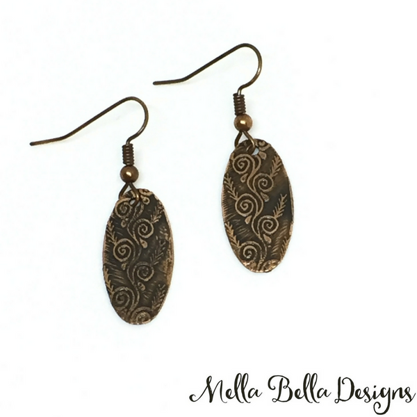 Etched copper swirl earrings