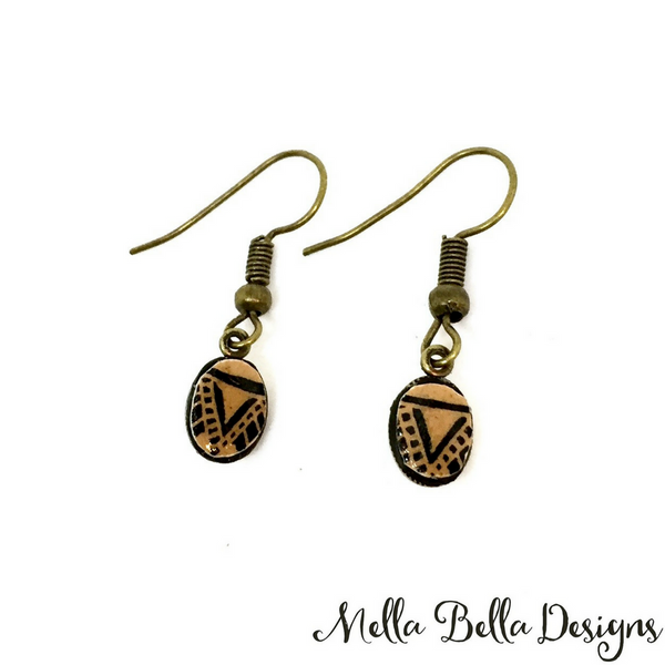 Small oval brown & black Pysanka earrings