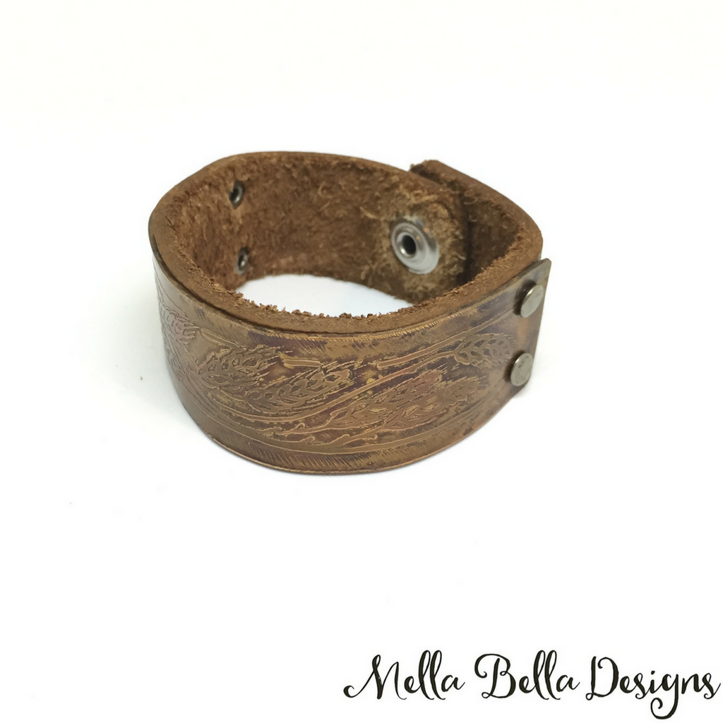Etched Copper & Leather Bracelet