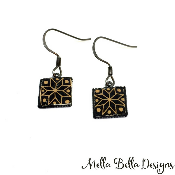 Square brown & black Pysanka earrings