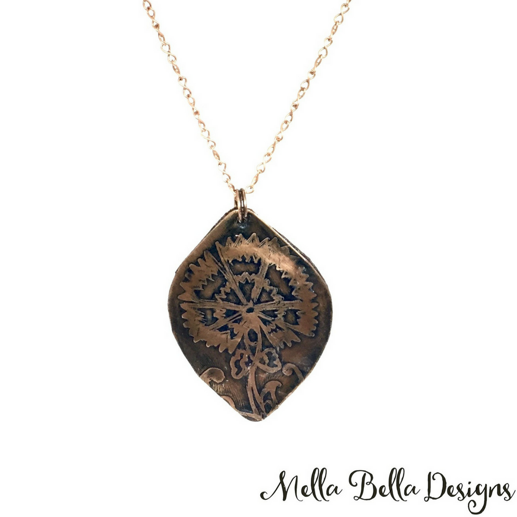 Etched Copper Cornflower Pendant