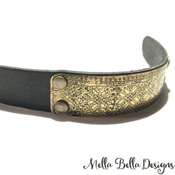 Etched Brass Leather Bracelet